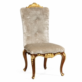495639 SC BMA F005 Jonathan Charles Monte Carlo Dining Side Chair With Gilt  Carved Detailing, Upholstered In Calico Velvet