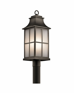 49583OZ Kichler Traditional Pallerton Way Outdoor Post Mt 1Lt - Olde Bronze