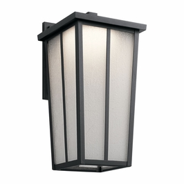49624BKTLED Kichler Transitional Amber Valley Outdoor Wall 1Lt LED - Textured Black