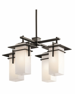 49638OZ Kichler Contemporary Caterham Indoor/Outdoor Chandelier 4Lt - Olde Bronze