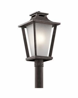49664WZC Kichler Arts and Crafts/Mission Sumner Court Outdoor Post Mount 1Lt (weathered zinc)