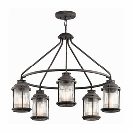 49667WZC Kichler Lodge/Country/Rustic Outdoor Chandelier 5Lt Weathered Zinc