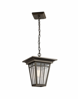 49678OZ Kichler Arts and Crafts/Mission Woodhollow Lane Outdoor Pendant 1Lt (olde bronze)
