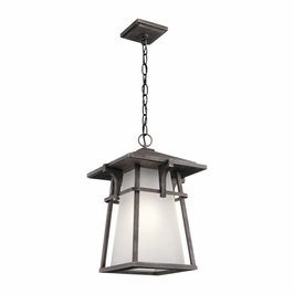 49725WZC Kichler Arts and Crafts/Mission Beckett Outdoor Pendant 1Lt - Weathered Zinc
