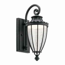 49751BKTLED Kichler Fixtures Traditional Textured Black Outdoor Wall 1Lt LED