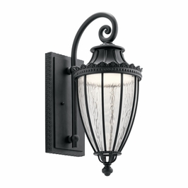 49752BKTLED Kichler Fixtures Traditional Textured Black Outdoor Wall 1Lt LED