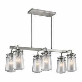 49835BA Kichler Fixtures Coastal Brushed Aluminum Outdoor Linear Chandelier 6Lt