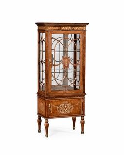 499320 Jonathan Charles Duchess Burl & Mother Of Pearl Display Cabinet Right Opening with Burr Walnut Light - Nc High Lustre On Veneer Finish