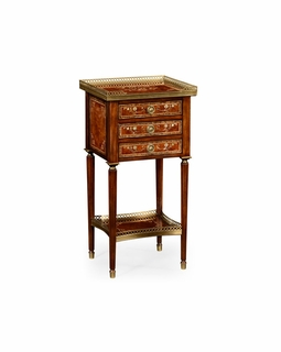 499436 Jonathan Charles Duchess Burl And Mother Of Pearl Inlaid Lamp Table with Burr Walnut Light - Nc High Lustre On Veneer Finish