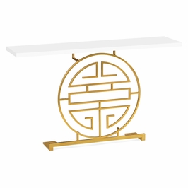 500025-G-WHG JC Modern Indochine Gilded Iron Console Table In Biancaneve