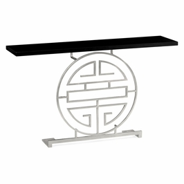 500025-S-BLG JC Modern Indochine Silver Iron Console Table In Smoky Black