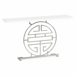 500025-S-WHG JC Modern Indochine Silver Iron Console Table In Biancaneve