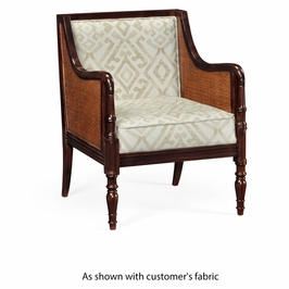 500032-LSM-FCOM JC Modern Langkawi Bergere Chair With Brown Rattan Matte Sides And Back, Upholstered In Com