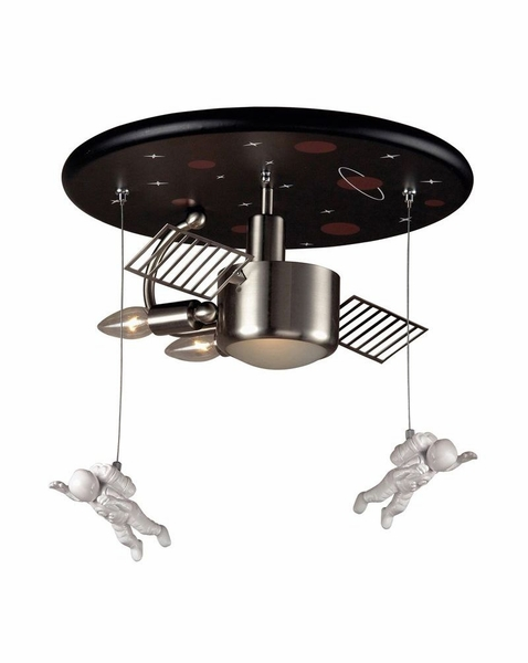 5089/3 Elk Novelty 3 Light Astronaut Flush Mount In Satin Nickel