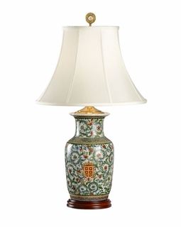 5196 Wildwood Lamps Herald Hiding Lamp - Hand Painted/Mahogany Finish