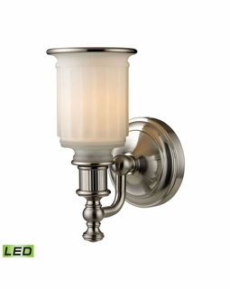 52000/1-LED ELK Lighting Acadia 1-Light Vanity Lamp in Brushed Nickel with Opal Reeded Pressed Glass - Includes LED Bulb