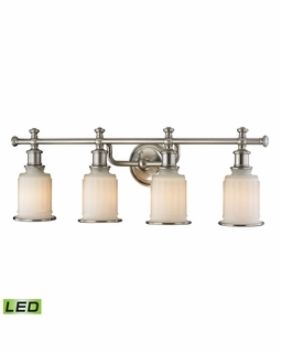 52003/4-LED ELK Lighting Acadia 4-Light Vanity Lamp in Brushed Nickel with Opal Reeded Pressed Glass - Includes LED Bulbs