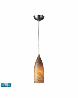 522-1CN-LED Elk Cilindro 1 Light LED Mini Pendant In Satin Nickel And Canary Glass
