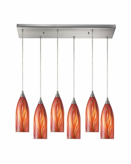 522-6RC-M Elk Cilindro 6 Light Mini Pendant In Satin Nickel And Multi Glass