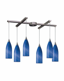 522-6S Elk 6 Light Pendant in Satin Nickel and Sapphire Glass (DISCONTINUED ITEM)