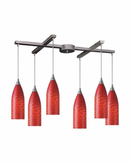 522-6SC Elk Cilindro 6 Light Mini Pendant In Satin Nickel And Scarlet Red Glass