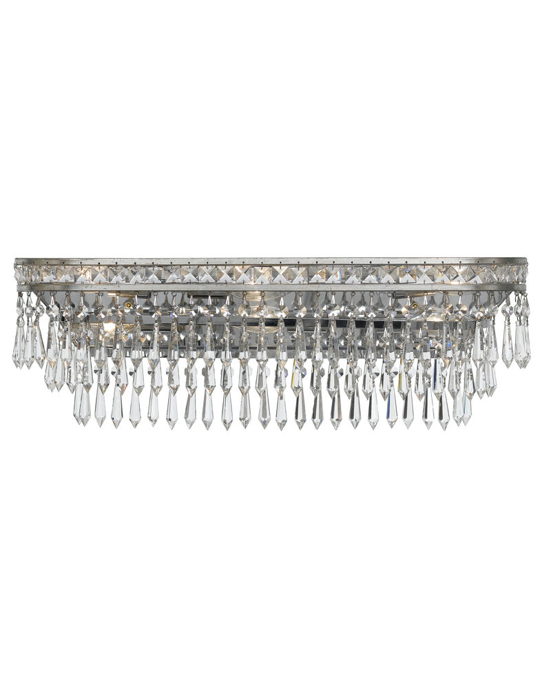 5265-OS-CL-MWP Crystorama Mercer 6 Light Hand Cut Crystal Silver Vanity Light