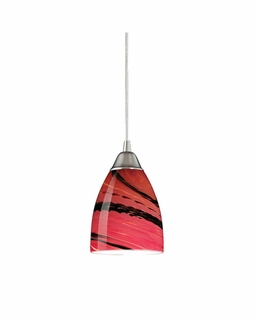 527-1A Elk Pierra 1 Light Pendant In Satin Nickel And Autumn Glass