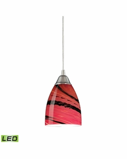 527-1A-LED Elk Pierra 1 Light LED Pendant In Satin Nickel And Autumn Glass