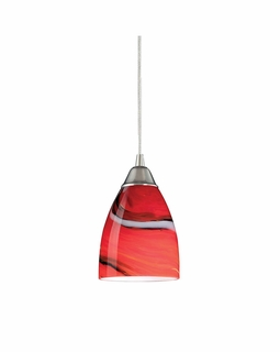 527-1CY Elk Pierra 1 Light Pendant In Satin Nickel And Candy Glass