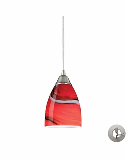 527-1CY-LA Elk Pierra 1 Light Pendant In Satin Nickel And Candy Glass - Includes Recessed Lighting Kit