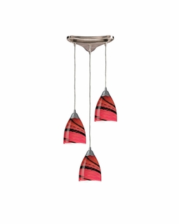 527-3A Elk Pierra 3 Light Pendant In Satin Nickel And Autumn Glass