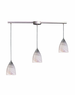 527-3L-CR Elk Pierra 3 Light Pendant In Satin Nickel And Creme Glass