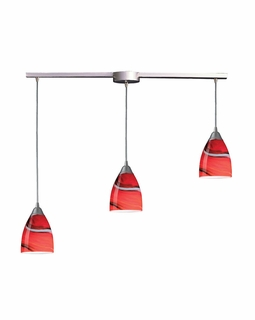 527-3L-CY Elk Pierra 3 Light Pendant In Satin Nickel And Candy Glass