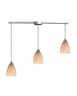 527-3L-SY Elk Pierra 3 Light Pendant In Satin Nickel And Sandy Glass