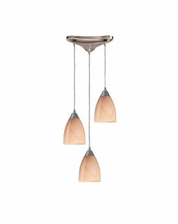 527-3SY Elk Pierra 3 Light Pendant In Satin Nickel And Sandy Glass