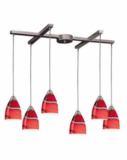 527-6CY Elk Pierra 6 Light Pendant In Satin Nickel And Candy Glass
