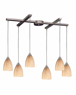 527-6SY Elk Pierra 6 Light Pendant In Satin Nickel And Sandy Glass