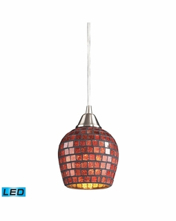 528-1CPR-LED Elk Fusion 1 Light LED Mini Pendant In Satin Nickel And Copper Glass