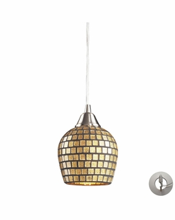528-1GLD-LA Elk Fusion 1 Light Mini Pendant In Satin Nickel And Gold Leaf Glass - Includes Recessed Lighting Kit
