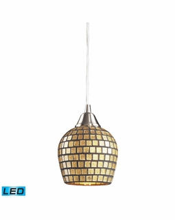 528-1GLD-LED Elk Fusion 1 Light LED Mini Pendant In Satin Nickel And Gold Leaf Glass