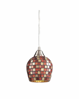528-1MLT Elk Fusion 1 Light Mini Pendant In Satin Nickel And Multi Glass