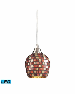 528-1MLT-LED Elk Fusion 1 Light LED Mini Pendant In Satin Nickel And Multi Glass