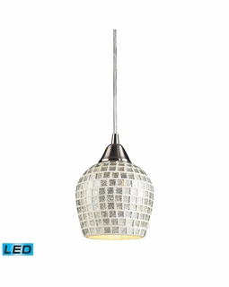 528-1SLV-LED Elk Fusion 1 Light LED Mini Pendant In Satin Nickel And Silver Glass