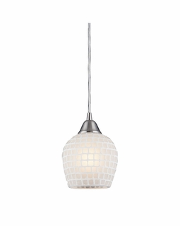 528-1WHT Elk Fusion 1 Light Mini Pendant In Satin Nickel And White Glass