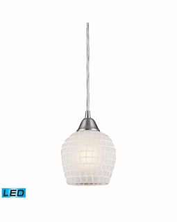 528-1WHT-LED Elk Fusion 1 Light LED Mini Pendant In Satin Nickel And White Glass
