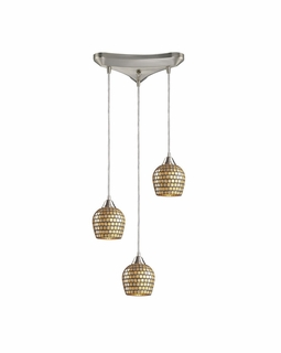528-3GLD Elk Fusion 3 Light Mini Pendant In Satin Nickel And Gold Leaf Glass