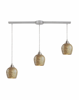 528-3L-GLD Elk Fusion 3 Light Mini Pendant In Satin Nickel And Gold Leaf Glass