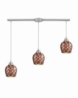 528-3L-MLT Elk Fusion 3 Light Mini Pendant In Satin Nickel And Multi Glass