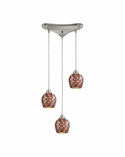 528-3MLT Elk Fusion 3 Light Mini Pendant In Satin Nickel And Multi Glass