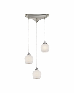 528-3WHT Elk Fusion 3 Light Mini Pendant In Satin Nickel And White Glass